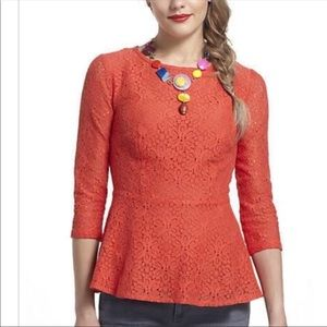 Moulinette Soeurs Orange Peplum Flowered Top